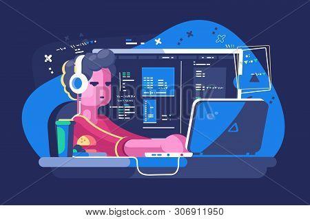 Web Developer Working On Laptop Vector Illustration