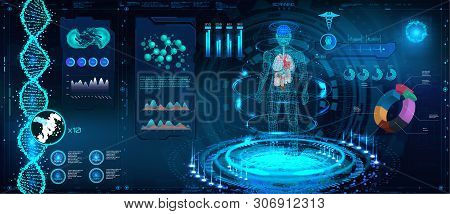Medical Infographic Hud. Human Body And Organism Scannig ( Anatomy, Dna Formula, X-ray, Molecule And
