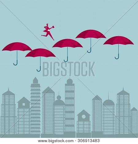 The Businessman Ran In Mid-air. Isolated On Blue Background.
