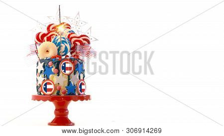 Usa Theme Candyland Fantasy Drip Cake On White Background.