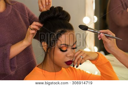Open Workshop Hairdressing. Master Class Makeup Art Shows On Model. Fashion Professional. Practice S