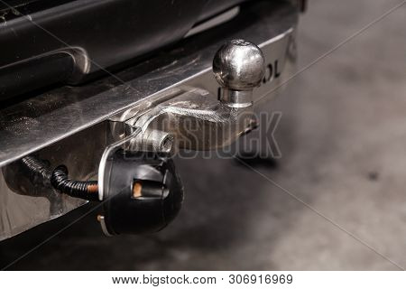 Novosibirsk, Russia - June 14, 2019:  Nissan Patrol, Close Up, Black Car  Tow Hitch.view Of The Vehi