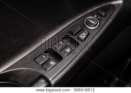 Novosibirsk, Russia - June 14, 2019:  Hyundai Sonata, Close-up Of The Side Door Buttons: Window Adju