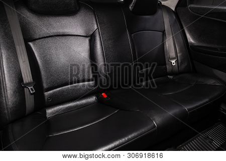 Novosibirsk, Russia - June 14, 2019:  Hyundai Sonata, Close-up Of The Black  Leather Rear Seats With