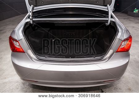Novosibirsk, Russia - June 14, 2019:  Hyundai Sonata, Close-up Of The Trunk, Front View. Photography