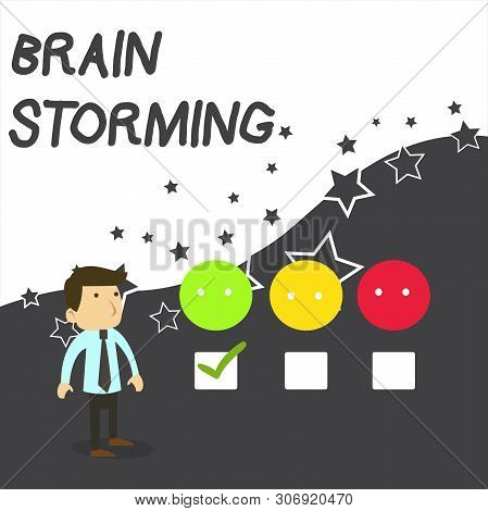 Text Sign Showing Brain Storming. Conceptual Photo Stimulating Creative Thinking Developing New Idea