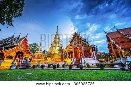 Panorama Of Wat Phra Singh Temple In Twilight. Most Favorite Landmark For Travel ,this Temple In The