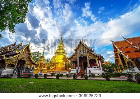 Wat Phra Singh Temple . Most Favorite Landmark For Travel ,this Temple In The Old City Center Of Chi