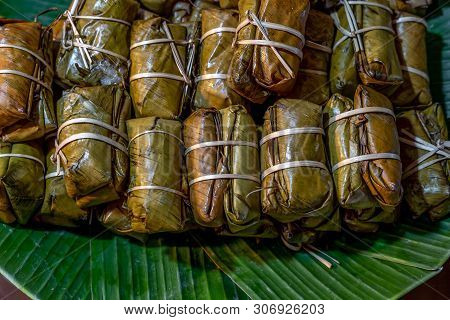 Steamed Sticky Rice With Banana And Bean Or Known As Kao Tom Mad, Thai Dessert.