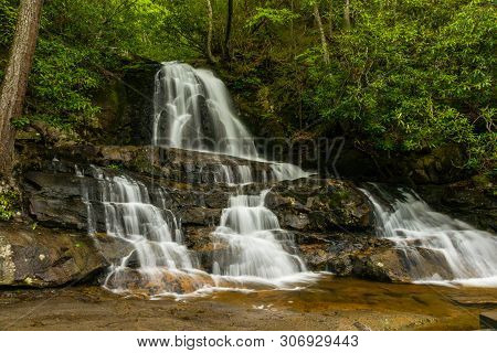 Laurel Falls In Great Smoky Mountains National Park In Tennessee, United States