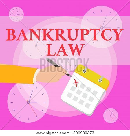 Writing note showing Bankruptcy Law. Business photo showcasing Designed to help creditor in getting the asset of the debtor Formal Suit Crosses Off One Day Calendar Red Ink Ballpoint Pen. poster