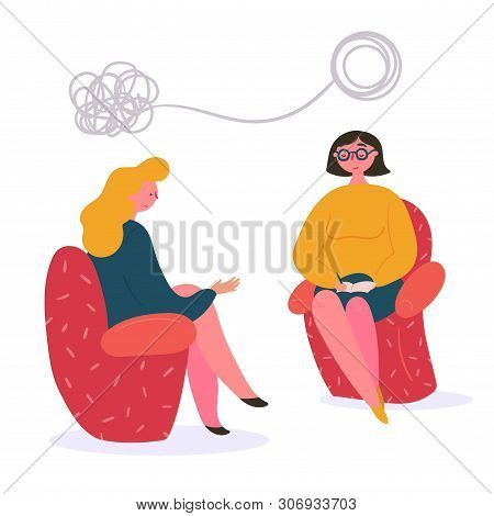 Woman On The Couch At The Therapist Psychologists Session. Young Lady Has Conversation Therapy With