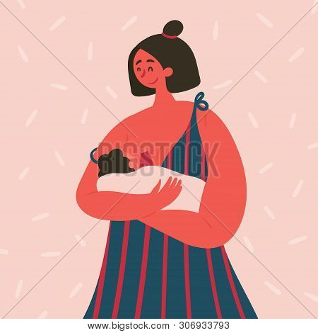 Breast Feeding Happy Woman With Baby On Her Hands. Girl In Madonna Pose Feeds Her Babe With Mother M