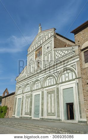 Church San Miniato Al Monte In Florence, Tuscany, Italy. It Is A Basilica In Florence, Central Italy