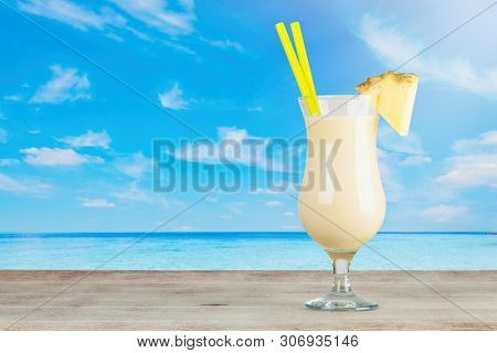 Pina Colada Cocktail on a seaside