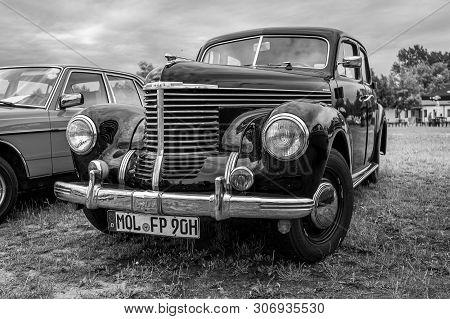 Paaren Im Glien, Germany - June 08, 2019: Executive Car Opel Kapitan (1948-1950). Black And White. D