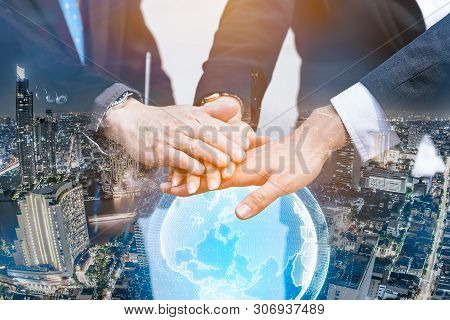 Double Exposure Business People Of Team With A Partnership Greeting Power Tag Team,teamwork Join Han