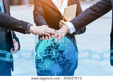 Teamwork Join Hands Support Together Concept.business People Shaking Hands, Finishing Up A Meeting.b