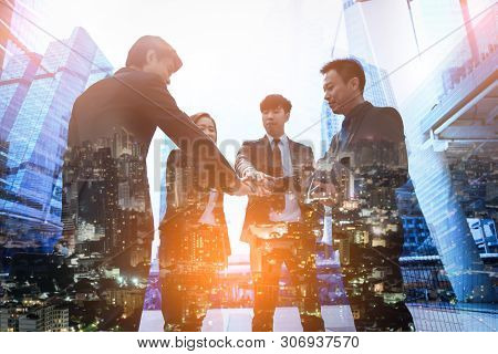 Teamwork Join Hands Support Together Concept.business People Shaking Hands, Finishing Up A Meeting.