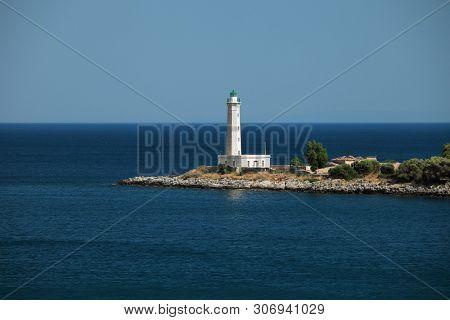 Lighthouse near Gythio. Laconia, Peloponnese, Greece.