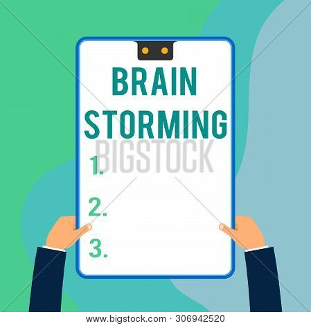 Conceptual Hand Writing Showing Brain Storming. Business Photo Text Stimulating Creative Thinking De