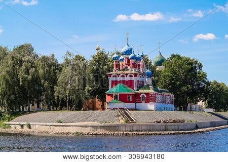 Uglich, Russia - June, 17, 2019: embankment of Volga river in Uglich, Russia with a view to Dmitry's Church on the Blood