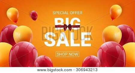 Sale Banner With Red And Yellow Floating Balloons. Vector Illustration. - Vector
