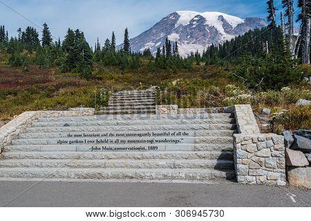 Paradise Trailhead In Mount Rainier National Park In Washington, United States