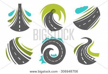 Highway And Roads Roadway Or Route Isolated Icons Corporate Identity