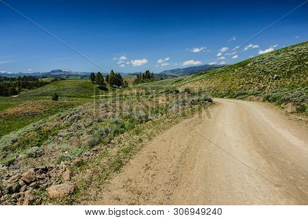 Blacktail Plateau Drive In Yellowstone National Park In Wyoming, United States