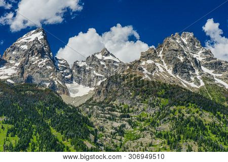 Teton Glacier Turnout In Grand Teton National Park In Wyoming, United States