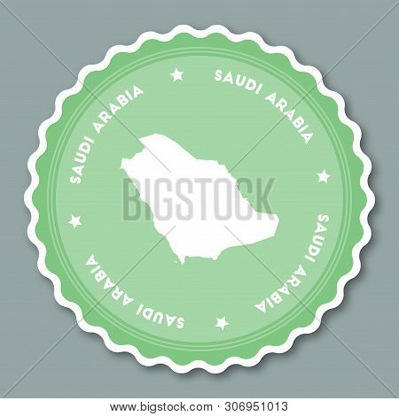Saudi Arabia Sticker Flat Design. Round Flat Style Badges Of Trendy Colors With Country Map And Name