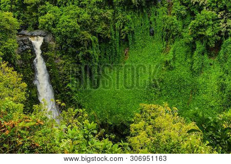 Makahiku Falls In Haleakala National Park In Hawaii, United States