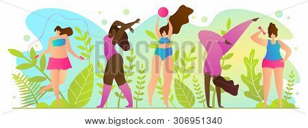 Active Sports In Summer, Vector Illustration. Active Form Rest. Young Women Play Sports On Street. G