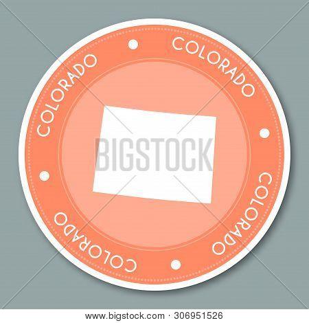 Colorado Label Flat Sticker Design. Patriotic Us State Map Round Lable. Round Badge Vector Illustrat