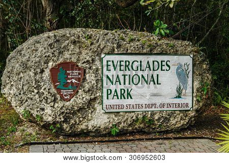 Entrance Sign In Everglades National Park In Florida, United States