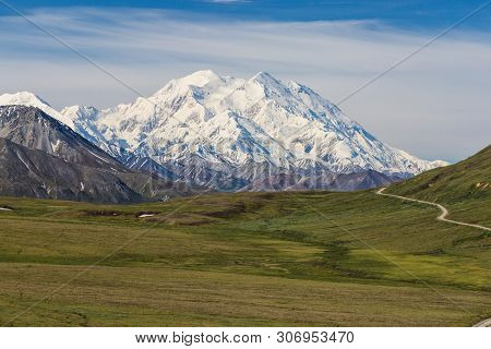 Mt Mckinley From Stony Hill Overlook In Denali National Park In Alaska, United States