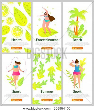 Health, Entertainment, Beach, Sports And Summer. Set Vacation At Seaside Resort And Solitude On Dese