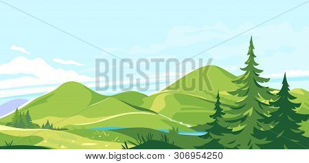 Mountain Range Landscape Background In Sunny Day, Hiking Travel Concept Illustration, Panorama Of Gr