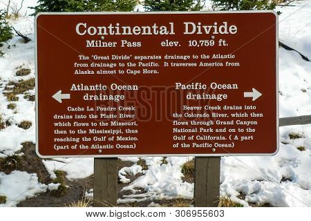 Continental Divide At Poudre Lake In Rocky Mountain National Park In Colorado, United States