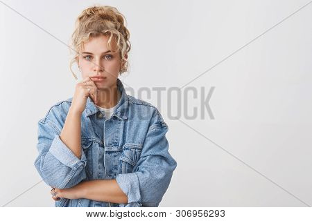 Serious-looking Thoughtful Focused Creative Female Designer Thinking Making Plan Consider What Choic