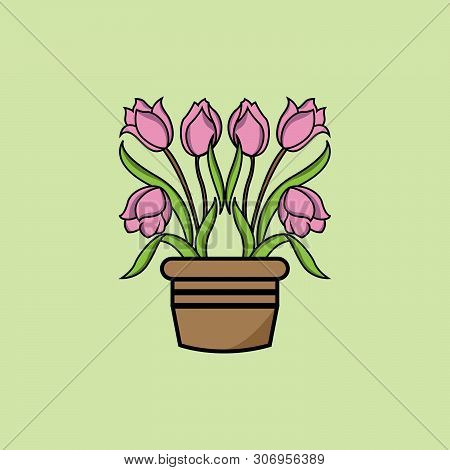 Isolated Tulip Icons In The Pot On A Green Background From Holland Collection. Trendy Tulip Icons An