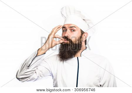 Professional Chef Man Showing Sign For Delicious. Chef, Cook Making Tasty Delicious Gesture By Kissi
