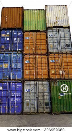 Jakarta, Indonesia, June 18 2019 : Containers Box From Cargo Freight Ship For Import Export. At The