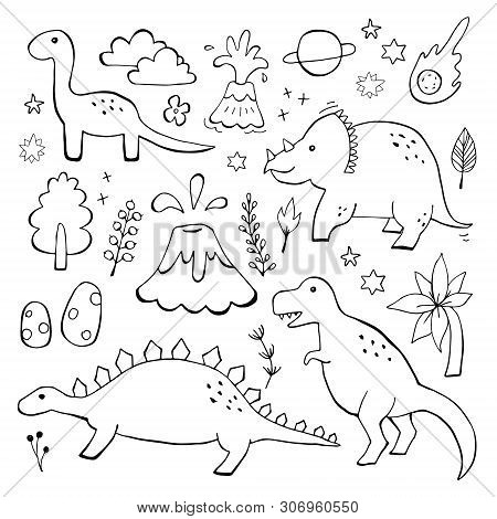 Apatosaurus Triceraptor And Angry Tyrannosaurus Rex With Open Huge Mouth Sketch. Hand-drawn Dinosaur