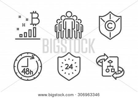 24 Hours, Copyright Protection And Bitcoin Graph Icons Simple Set. 48 Hours, Group And Technical Alg