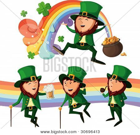 Set of cute leprechauns.
