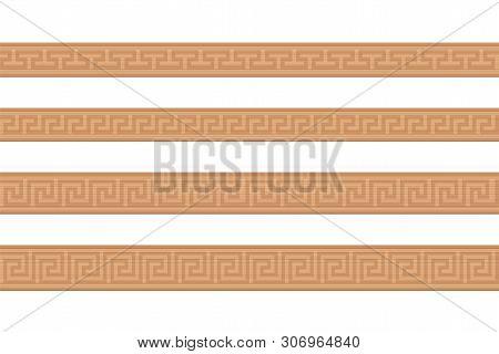 Wooden Mouldings. Ornamental Carved Wood Strips, Decorative Greek Style Pattern, Seamless Extendible