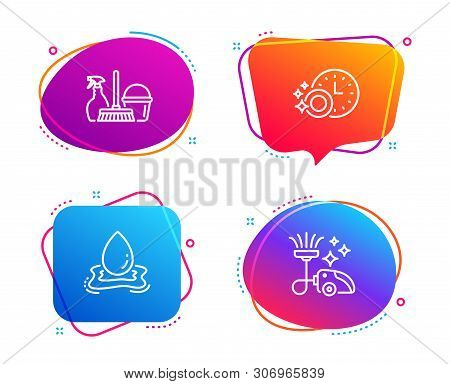 Dishwasher Timer, Water Splash And Household Service Icons Simple Set. Vacuum Cleaner Sign. Cleaning