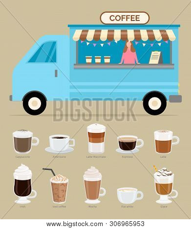 Coffee Business In Trailer Vector, Woman Selling Beverages Of Different Kinds, Cappuccino And Latte